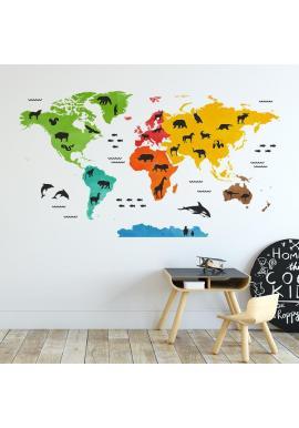 Barevná nálepka v podobě mapy světa