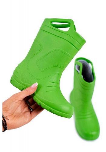 Dětské klasické holínky v zelené barvě