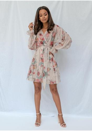Pudrově-růžové šifónové šaty s jemnými květy