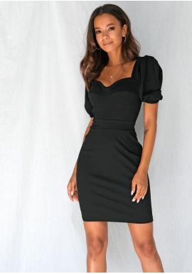 Vypasované dámské šaty s nafouklými rukávy v černé barvě