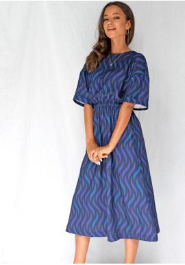 Modré midi šaty s potiskem pro dámy