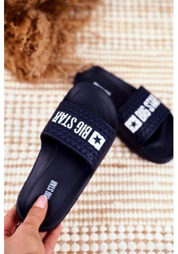 Trendy tmavomodré dětské pantofle s logem Big Star