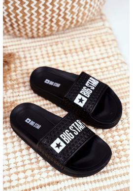 Černé gumové pantofle s bílým logem Big Star pro děti