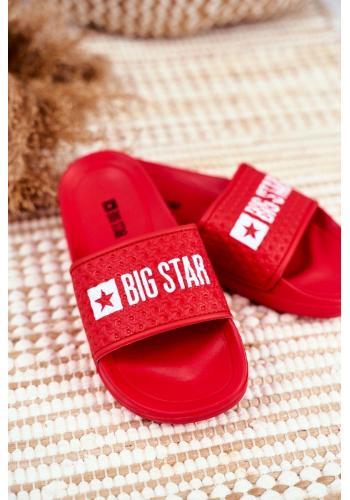 Dětské gumové červené pantofle s bílým logem Big Star
