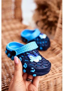 Dětské kroksy s mořským koníkem v modré barvě