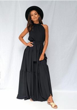 Stylové maxi šaty s vázáním kolo krku v černé barvě