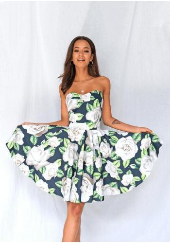 Korzetové dámské šaty s bílými růžemi