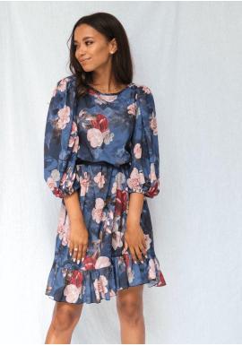 Květované modré podzimní šaty se širokými rukávy a volánem na sukni