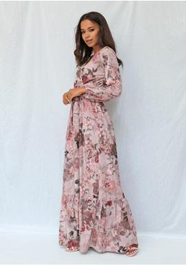 Dámské pudrové maxi šaty s květinovým motivem