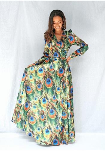Dlouhé saténové šaty s dlouhým rukávem s motivem pavích per
