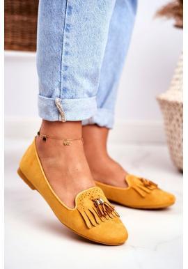 Žluté stylové mokasíny s třásněmi pro dámy