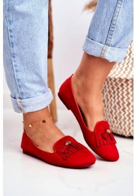 Červené mokasíny s třásněmi pro dámy