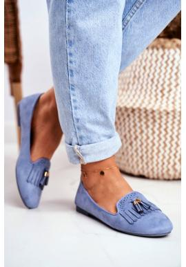 Stylové dámské mokasíny modré barvy s třásněmi