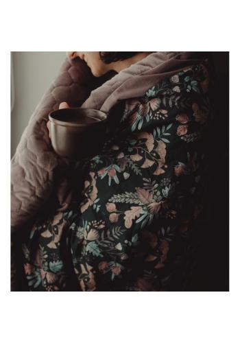 Černo-zelená sametová teplá deka s bylinkovým motivem