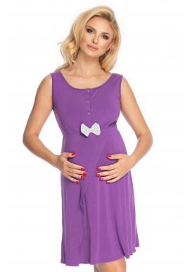 Fialová noční těhotenská a kojící košile bez rukávů s mašličkou