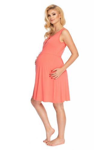 Noční těhotenská a kojící košile bez rukávů v korálové barvě