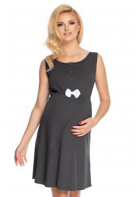 Noční těhotenská a kojící košile bez rukávů v tmavě šedé barvě