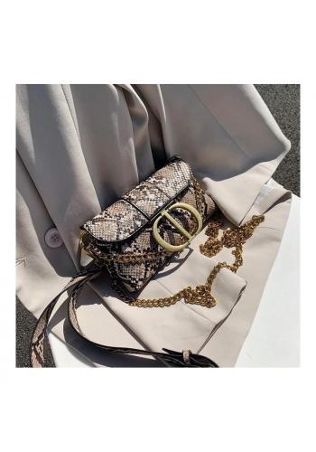 Hnědá elegantní ledvinka s motivem hadí kůže pro dámy