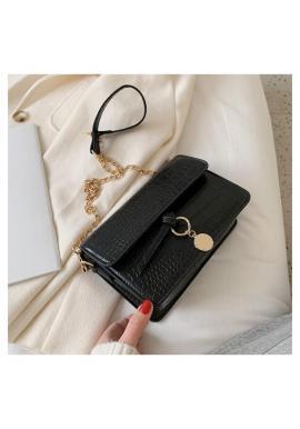 Černá elegantní kabelka s řetízkem pro dámy