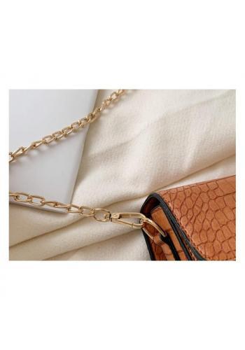 Elegantní dámská kabelka hnědé barvy s řetízkem