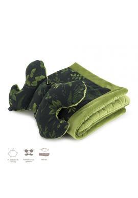 Černo-zelená sametová sada do kočárku s bylinkovým motivem