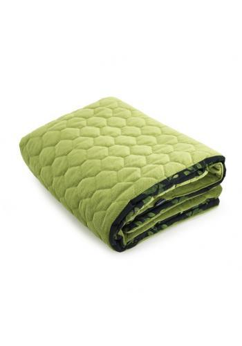 Černo-zelená sametová sada na spaní s bylinkovým motivem