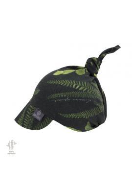Dětská šátek s kšiltem s bylinkovým motivem na gumičce - 100% bambus