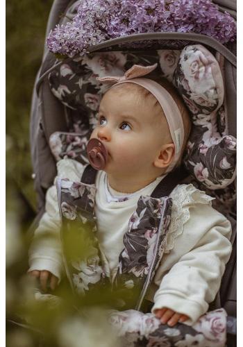 Oboustranné ochranné kryty na pásy do kočáru s vintage květy - samet