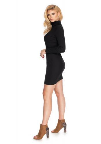 Dámské mini šaty s dlouhým rukávem a rolákem v černé barvě