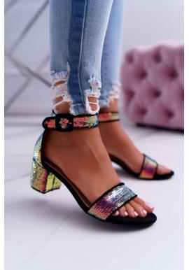 Černé stylové sandály na nízkém podpatku s flitry pro dámy ve slevě