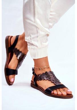 Černé dámské sandály s metalickým zdobením ve výprodeji