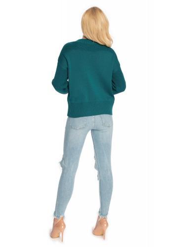 Zelený svetr s vyvýšeným límcem pro dámy
