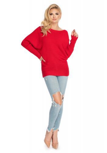 Volný dámský svetr v červené barvě