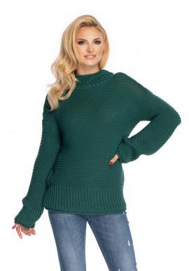 Pohodlný dámský svetr s volnými rukávy v zelené barvě