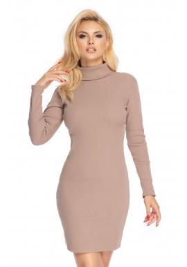Dámské mini šaty s dlouhým rukávem a rolákem v cappuccinovej barvě