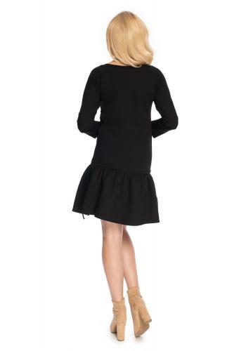 Černé mini šaty s dlouhým rukávem a volány na sukni