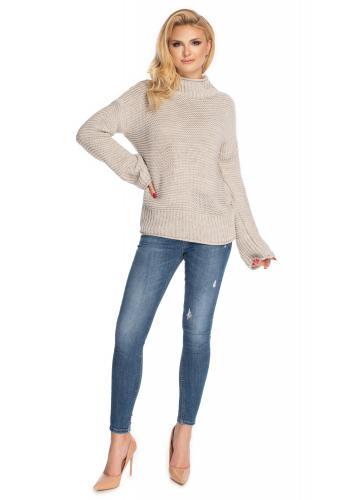 Dámský béžový svetr s volnými rukávy