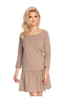 Cappuccinové mini šaty s dlouhým rukávem a volány na sukni pro dámy