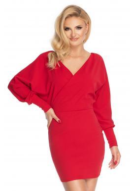 Červené mini šaty s V výstřihem pro dámy