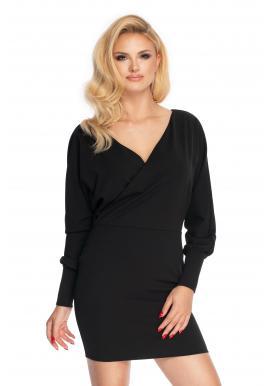 Módní mini šaty s obálkovým výstřihem v černé barvě