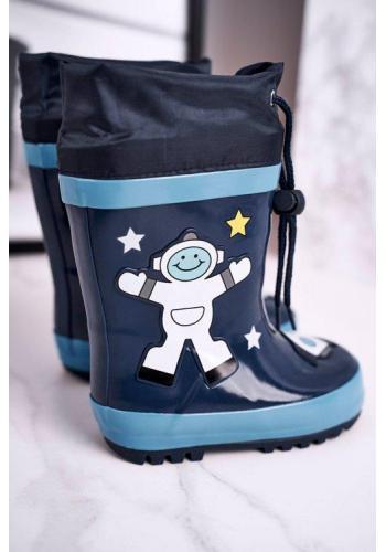 Tmavomodré chlapecké gumáky do deště s kosmonautem
