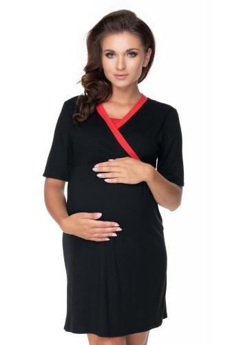Těhotenský set noční košile a župana v černé barvě s červeným lemem