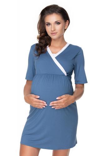 Těhotenský set noční košile a župana v modré barvě s bílým lemem