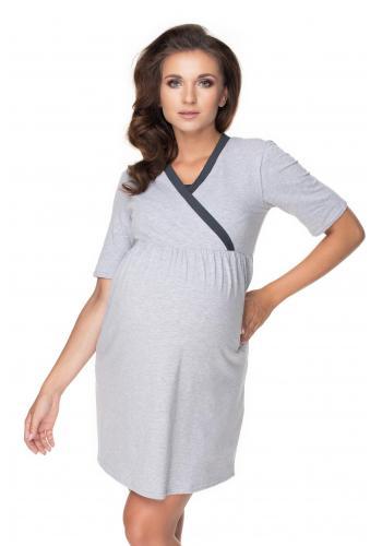 Těhotenský set noční košile a župana v šedé barvě s tmavošedým lemem