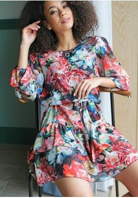 Šifónové květované šaty s volány na sukni