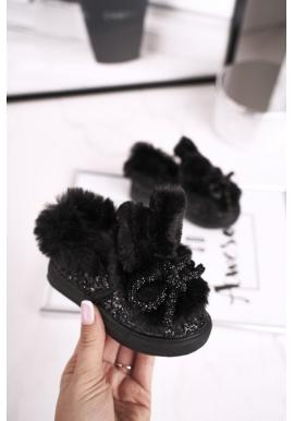 Černé tenisky s kožešinou pro dívky