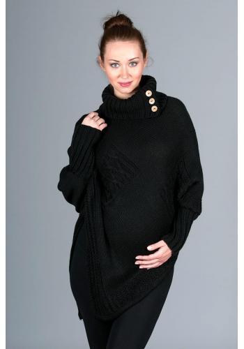 Černé elegantní rolákové pončo s dlouhým rukávem