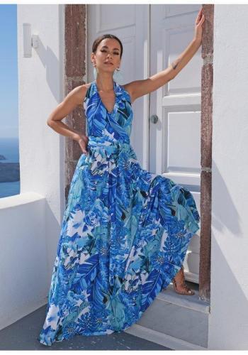 Maxi šaty s vázáním kolo krku s V výstřihem v modré barvě, s motivem banánových listů