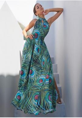 Saténové maxi šaty s vázáním kolo krku v černé barvě s motivem pavího peří