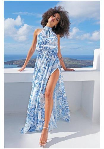 Stylové bílé maxi šaty s vázáním kolo krku, poklopcem a modrým potiskem